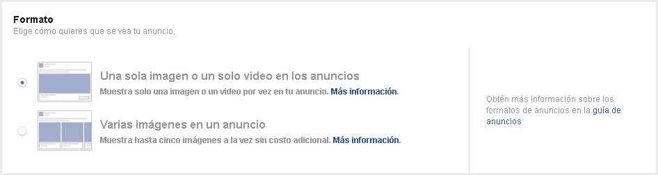 Facebook Ads - Formato anuncios