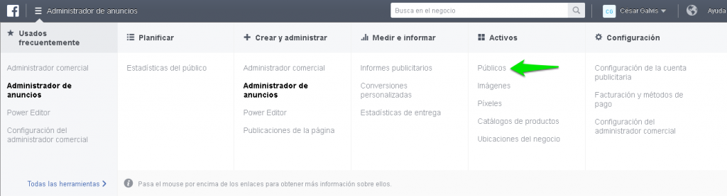 Administrador comercial Facebook