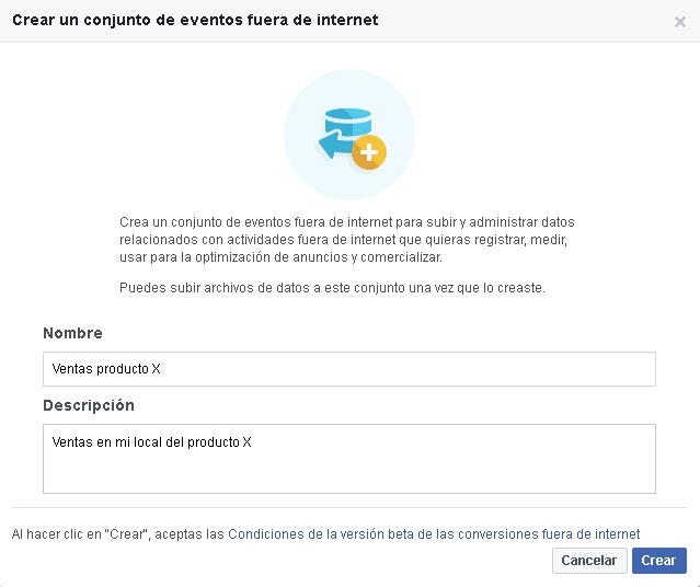 Crear un evento fuera de internet
