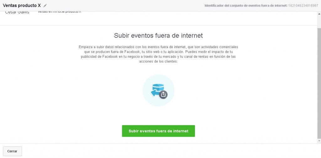 Subir eventos fuera de internet