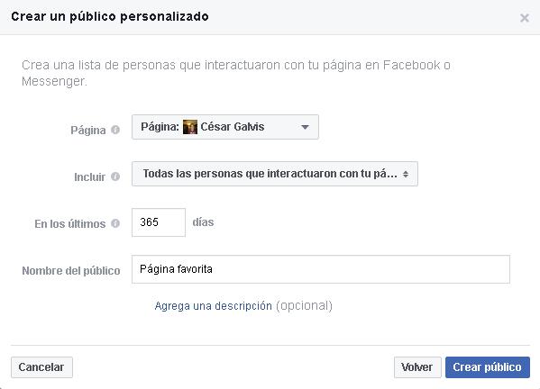 Página crear público personalizado
