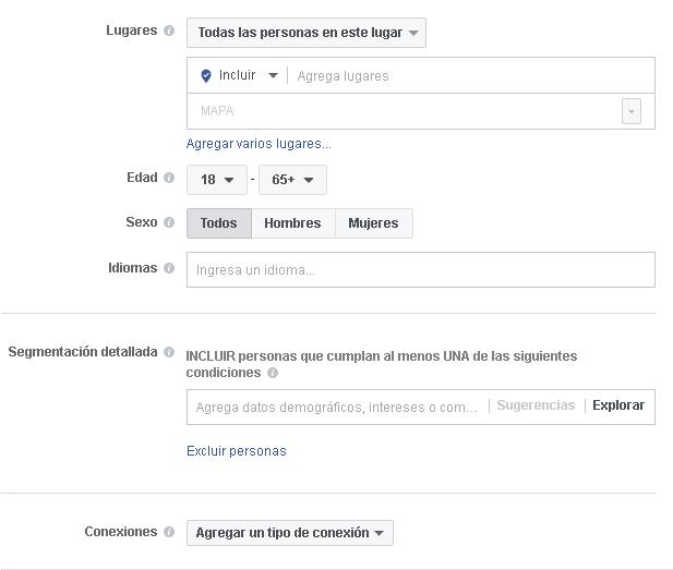 Opciones de segmentación en Facebook